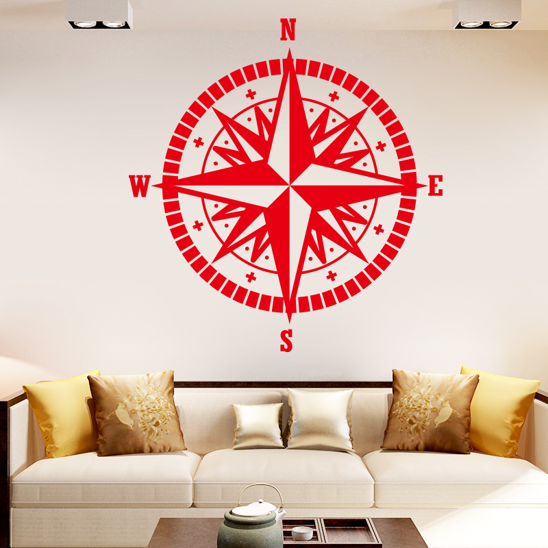 COCOPLAY Compass Pattern Wall Stickers for Home Decor Living Room Bedroom Vinyl Waterproof Background Wall Art Decal