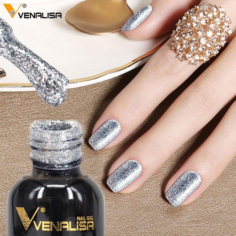 #60752 de 2019 nuevos Venalisa de Arte de uñas Venalisa 12 ML 12 color cena diamante brillante brillo lentejuelas estrellado platino pintura gel