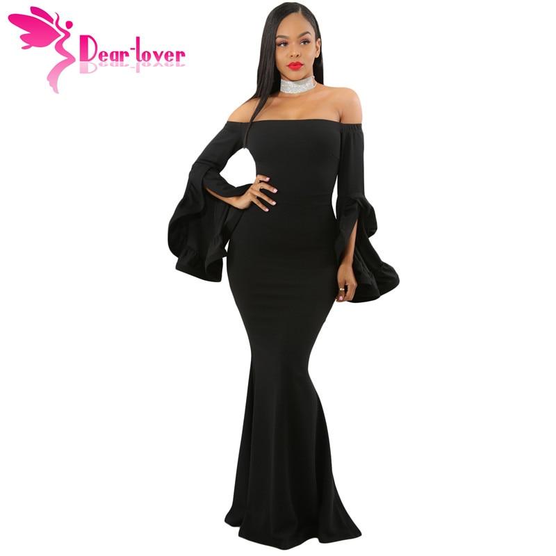 Dear Lover Sexy Party Gown Elegant 2018 Autumn Black Off Shoulder Pleated Bell Sleeves Maxi Dress vestido de festa longo LC61981