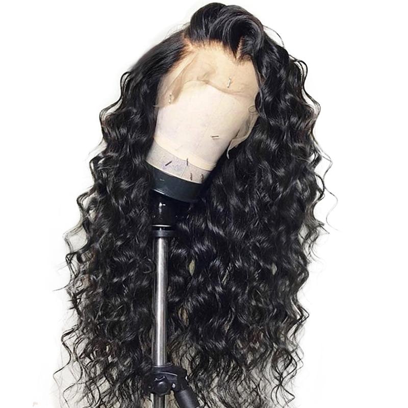 360 csipke elülső paróka előszárított baba haj 180% -os - Emberi haj (fekete)