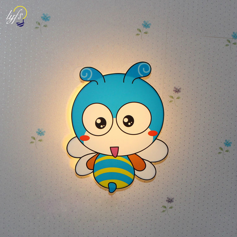 LED Modern Wall Lamps Children Baby Kids Bedroom Bedside Lamp Cartoon Little Bee Shape 90-260V Originality Novelty LightLED Modern Wall Lamps Children Baby Kids Bedroom Bedside Lamp Cartoon Little Bee Shape 90-260V Originality Novelty Light