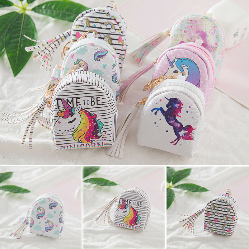 2019 Brand New Unicorn Purses Digital Printing Unicorn Set Design Tassel Coin Purse Key Card Bag Gift
