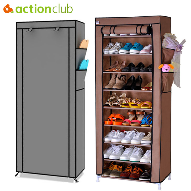 Actionclub Multi-purpose Storage Shoe Cabinet Non-woven Dust Storage Shoe Rack Space Saver Shoe Organizer Furniture Shelves shoe rack nonwovens steel pipe 4 layers shoe cabinet easy assembled shelf storage organizer stand holder living room furniture
