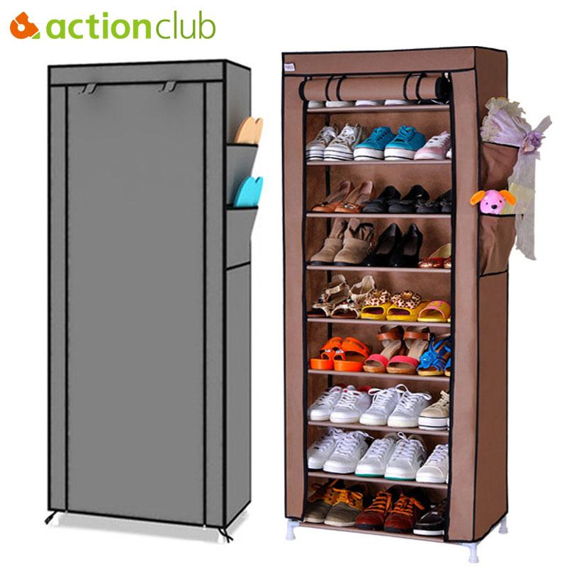Actionclub Multi-purpose Storage Shoe Cabinet Non-woven Dust Storage Shoe Rack Space Saver Shoe Organizer Furniture Shelves