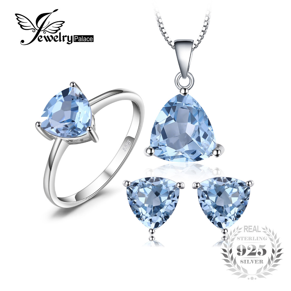 Jewelrypalace 5.4ct Natural Blue Topaz Ring Earring Pendant Necklace Jewelry Set Pure Genuine 925 Sterling Silver Women Gift