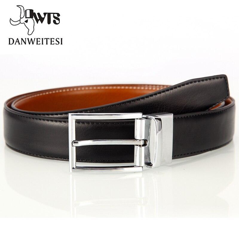 [DWTS] New genuine leather belt men reversible casual jeans men's belt strap male genuine leather belts for men Rotatable buckle
