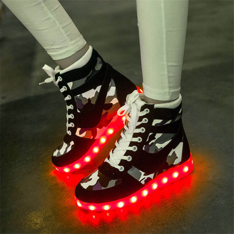 Special camouflage LED colorful shoes couple luminescent fluorescent sneakers luminous USB charging shoes for children EU 35 45