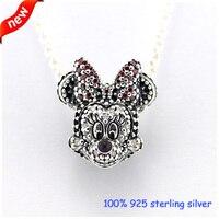 Fits Pandora Bracelets Sparkling Minnie Portriat Silver Beads 100% 925 Sterling Silver Charms DIY Jewelry Wholesale 09288