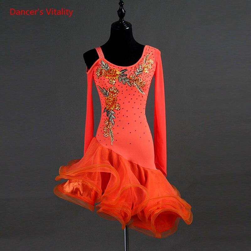 Latin Dance Dress Senior Embroidery Diamonds Irregular Fishbone Gauze Dresses Women Latin Ballroom Dance Performance Costumes