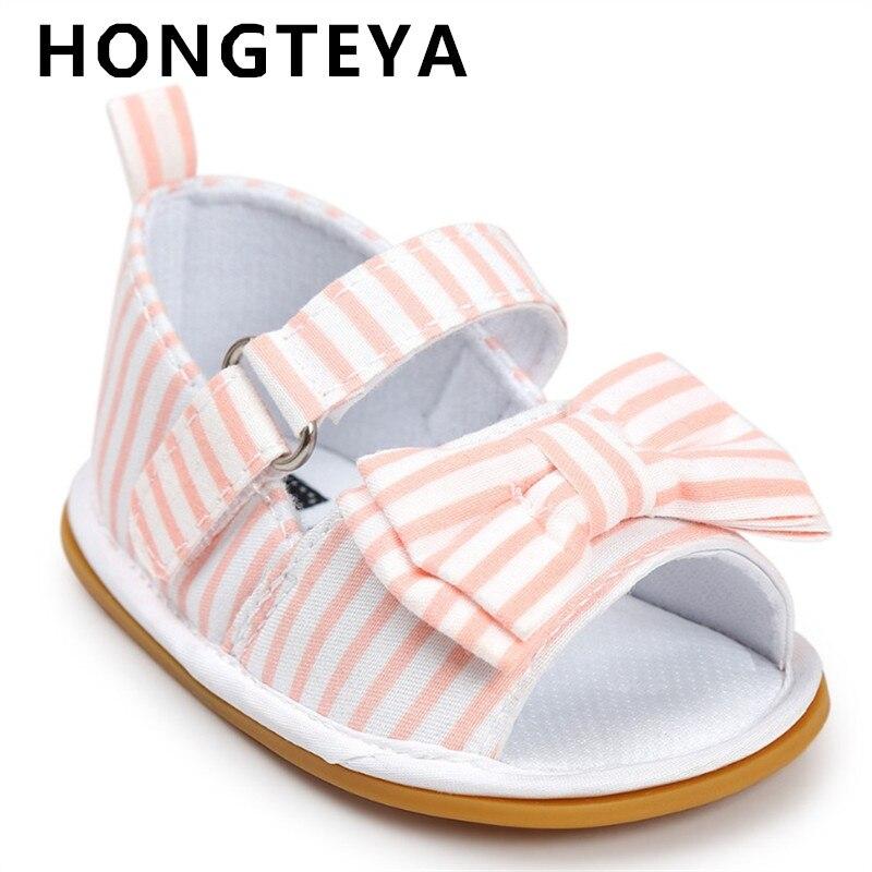 2019 Kuum müük Baby moccasins Stripe Bowtie Armas laps Suvi tüdrukud poiste sandaalid Sneakers Esimesed jalutajad Imiku kangast kingad