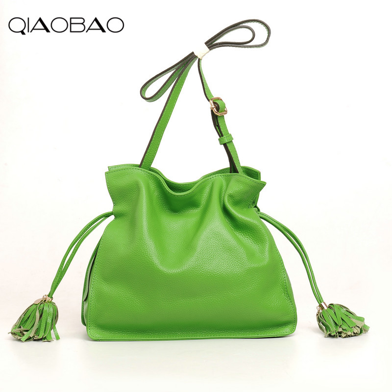 Qiaobao 2018 Весенняя Новинка кисточкой ярких цветов Женская сумка-мешок сумка одного плеча для отдыха 100% натуральная кожа сумки
