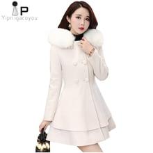 Длинное белое шерстяное пальто, женское осеннее зимнее Новое двубортное шерстяное пальто с большим меховым воротником и капюшоном, теплая куртка, Женское пальто