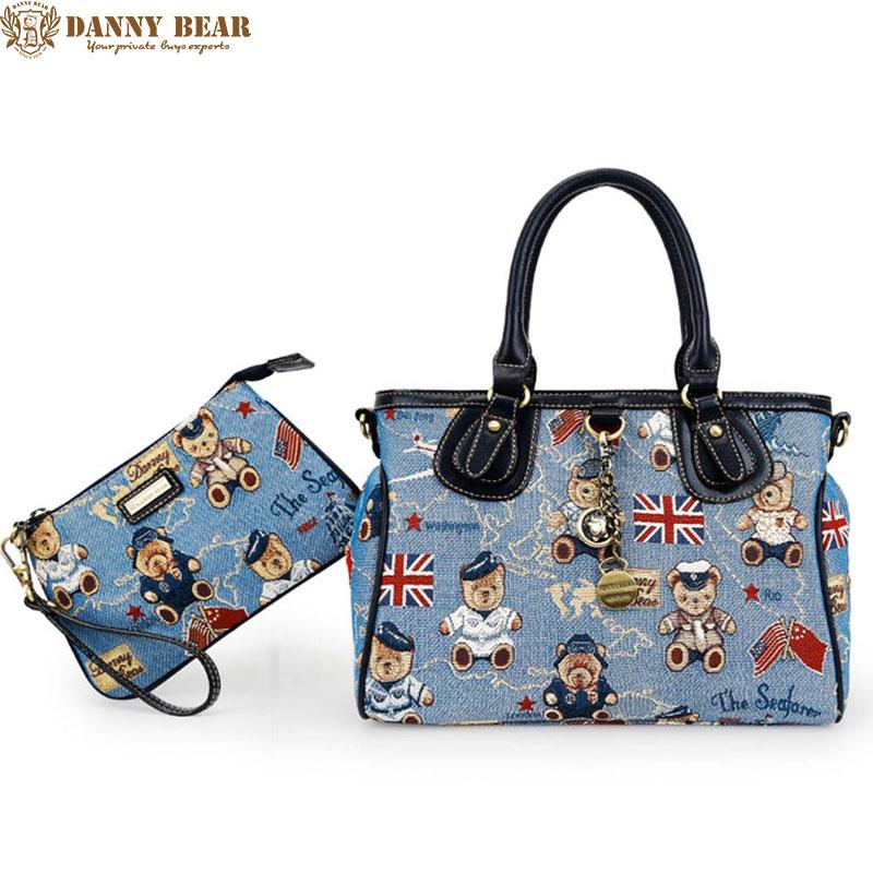 DANNY BEAR Original Design 2 PCS Women Bags Set Blue Handbags Mini Clutch Bags For Female High Quality Jacquard Messenger Bags sela sela se001ewoqd50