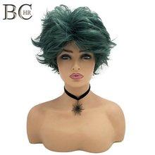 BCHR Short Anime Cosplay Deku Wigs Dark Green Synthetic Wig