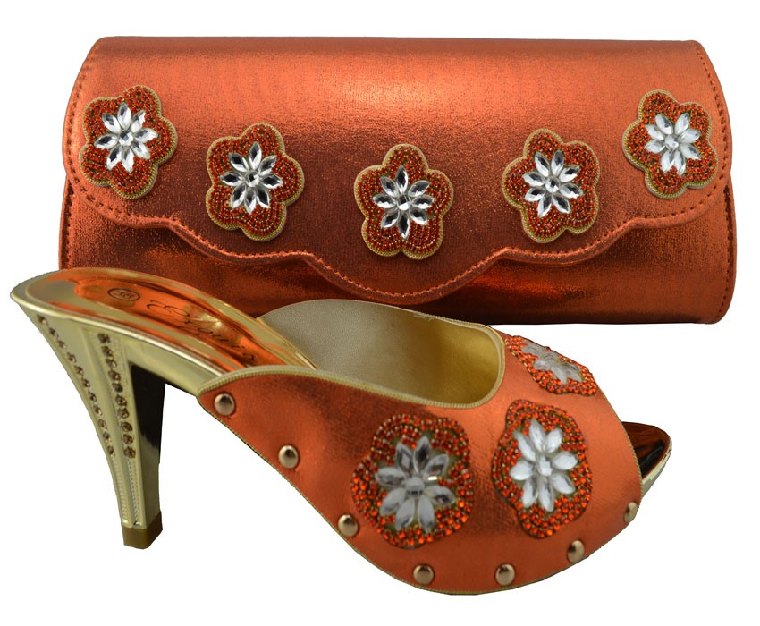 ФОТО Charming Italian Shoes With Matching Bags Rhinestones Orange High Quality African Shoes And Bags Set For Wedding 1308-L36