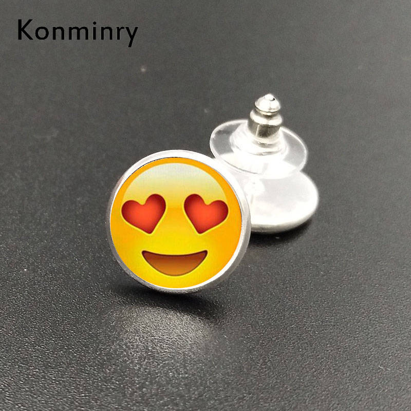 Konminry Trendy Emoji Expression Stud Earrings Cute Glass Dome Face Design Earrings For Women Gift Funny Jewelry