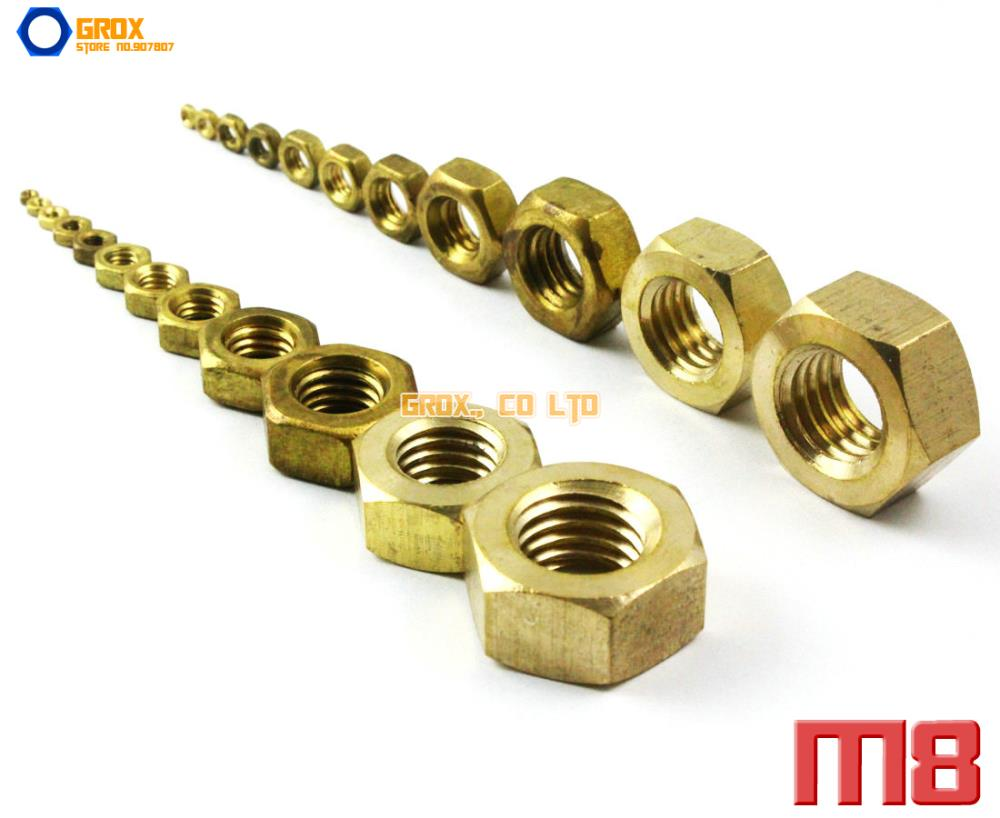 25 Pieces M8 Brass Metric Thread Hexagon Nut