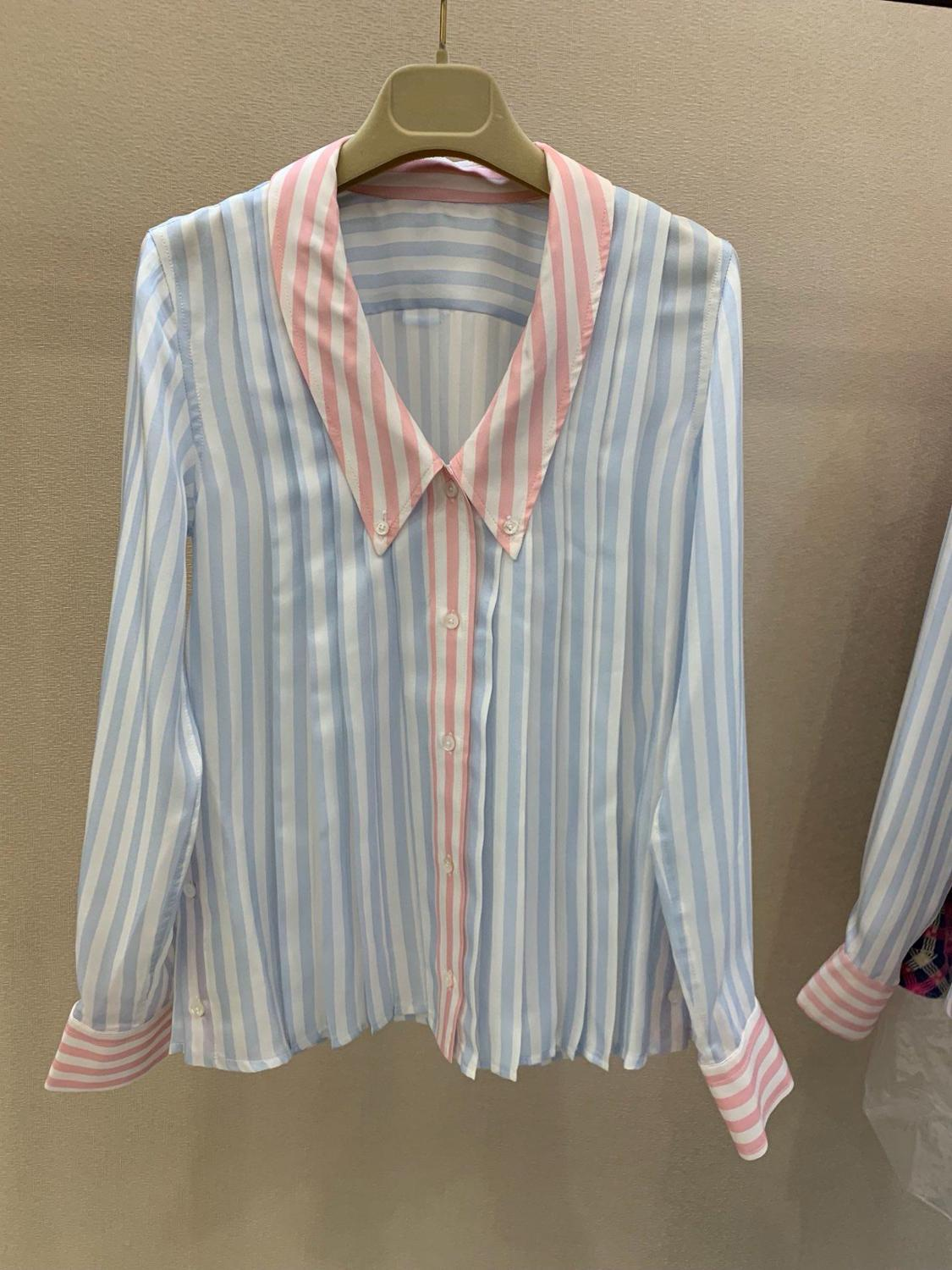 2019 new ladies fashion sexy long sleeve contrast striped shirt 0604