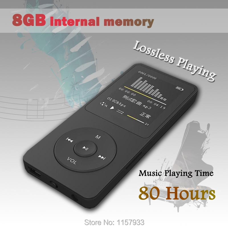 High quality real 8GB 80 Hours lossless Music playing MP3 player 1.8 TFT screen MP3 E-book photo Music FM radio Clock Data ...