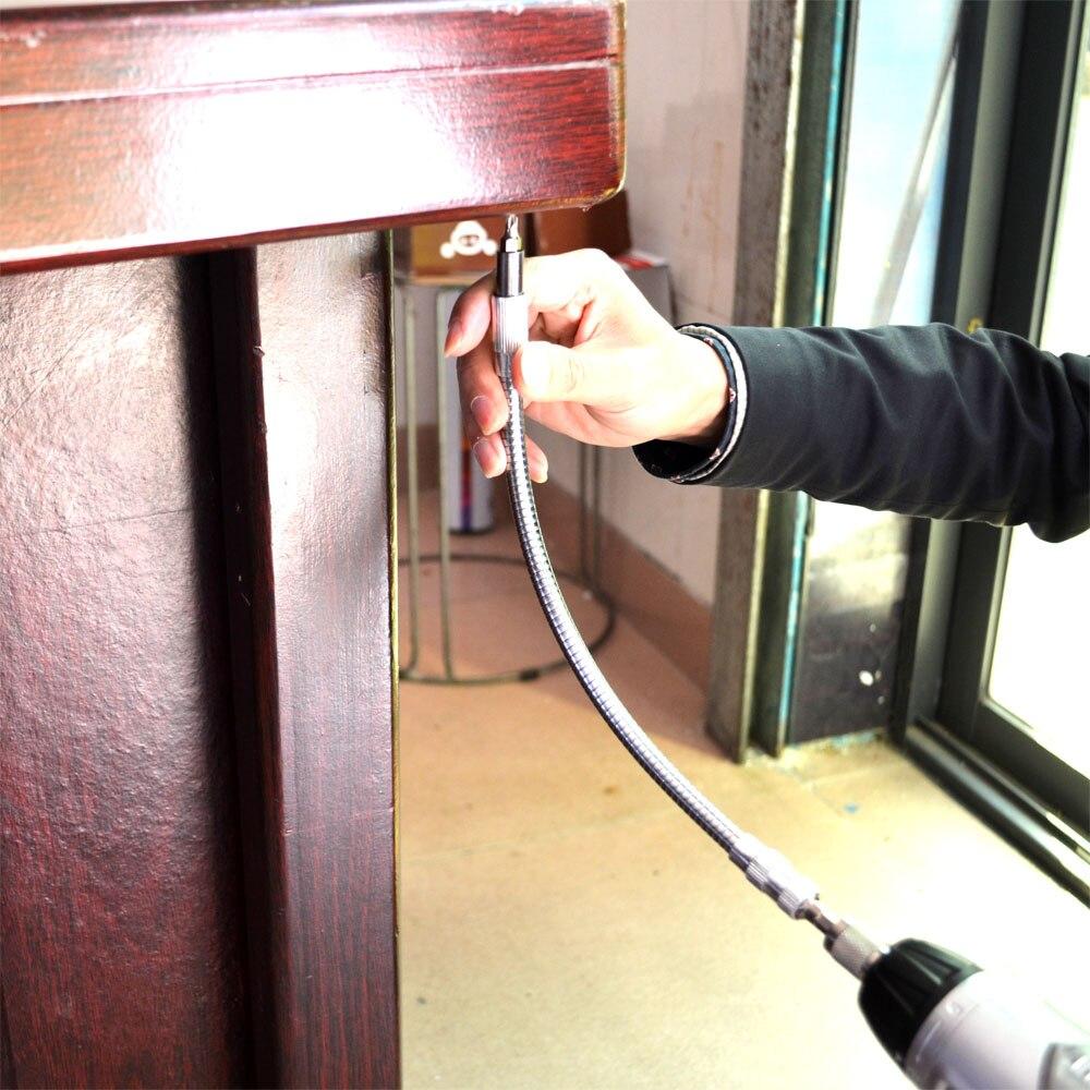 Купить с кэшбэком 15cm/20cm / 30cm / 40cm Length 6.3mm Hex Shank Flexible Shaft Extension Drill Impact Driver Ratchet Screwdriver Extend Rod