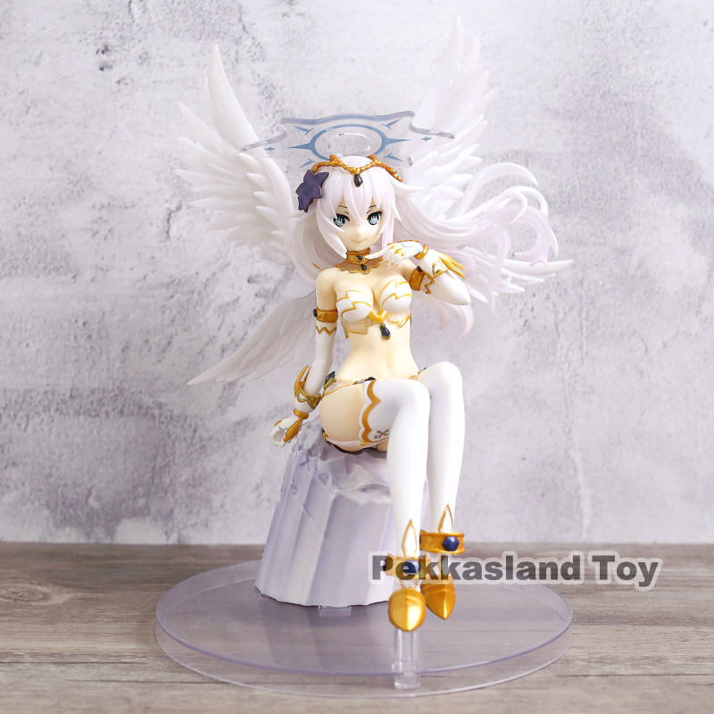 Choujigen Game Neptune 4 Goddesses Online Black Heart Noire White Wings Sitting Ver Model 1/8 Scale Anime Action Figure Toy