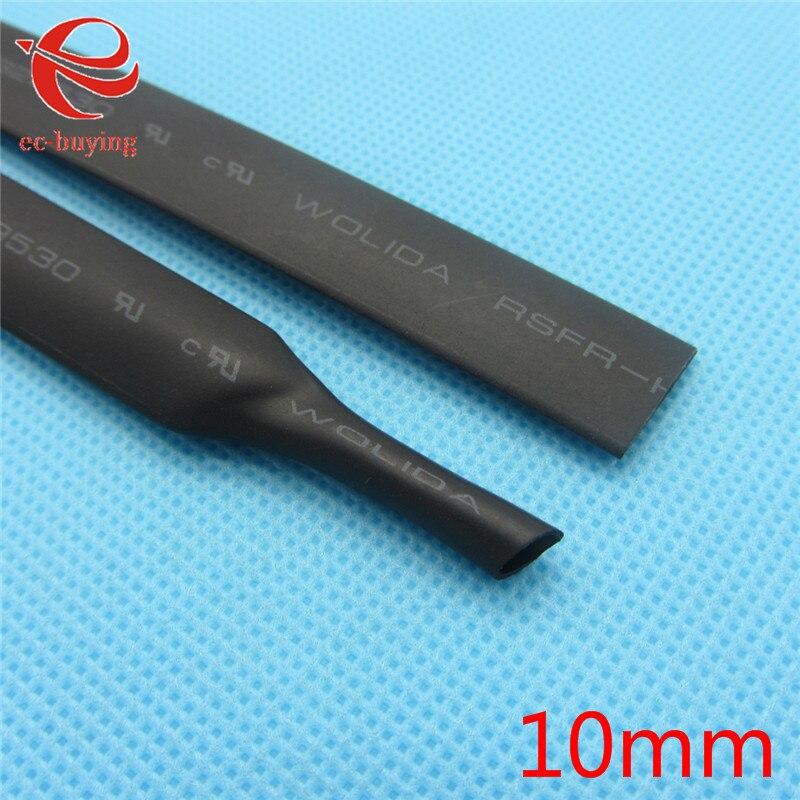 1 m Nero Tubi Termorestringenti Termorestringenti Guaina Isolante 600 Tensione 125 Celsius Kit Diametro Interno 10mm