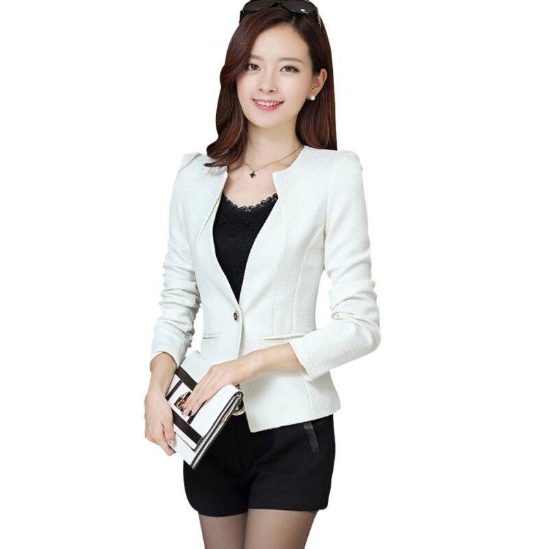 0c7e8796f2ba8 New Women Slim Blazer Coat Fashion Casual Jacket Long Sleeve One Button  Suit Ladies Blazers Large Size Work Wear 5 Color-in Blazers from Women's ...