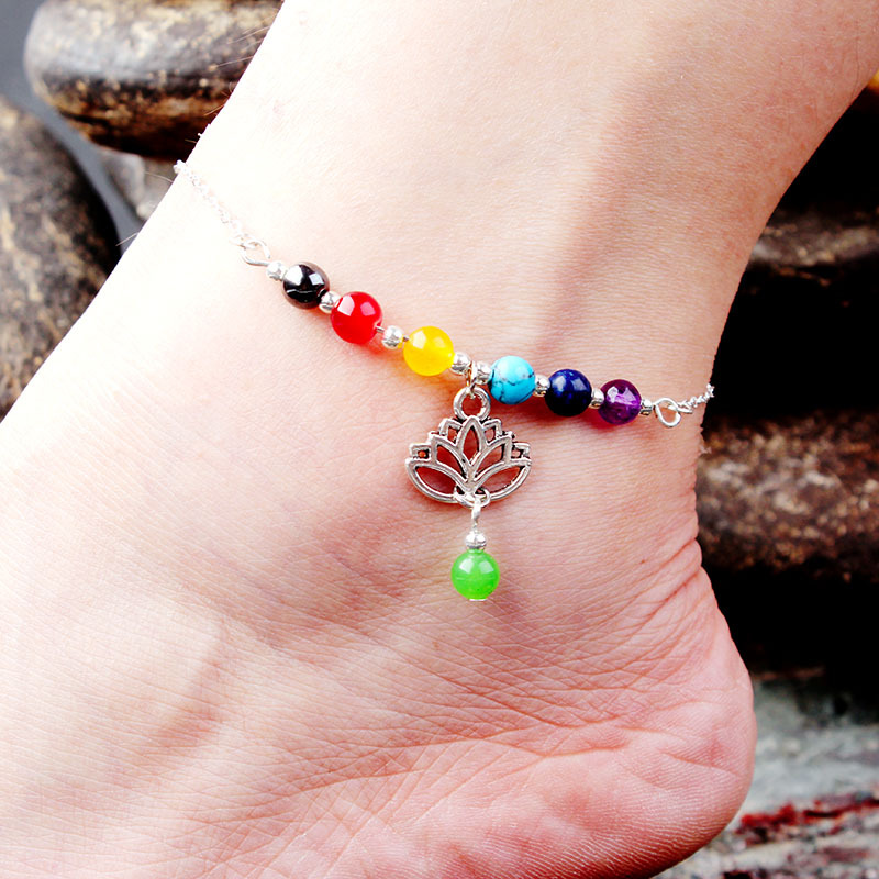 LE SKY New Fashion Seven Chakras Natural Stone Pendant Foot Chain Colorful Beads Yoga Energy Anklet for Women Gift
