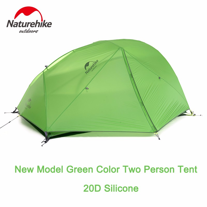 Naturehike DHL free shipping 2 Person Camping Tent Waterproof 20D Silicone Fabric Double-layer Tent 4 seasons Tent NH15T012-T20D high quality outdoor 2 person camping tent double layer aluminum rod ultralight tent with snow skirt oneroad windsnow 2 plus