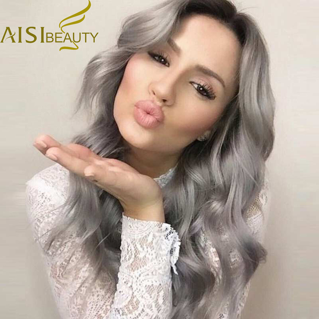 26'' Long Ombre Grey Wigs Natural Cheap Hair Wig Grey Synthetic Wigs For Black/White Women Long Grey Wig Women Female Hairstyle