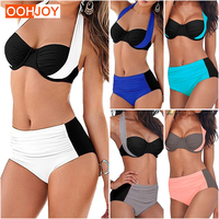 2017 New Sexy Bikini Women Swimsuit High Waist Swimwear Plus Size Bathing Suit Halter Push Up