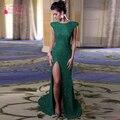 Sexy side de Split Sirena Vestidos de Mar Verde elegante Vestidos de Baile Formal Largo de Noche vestidos de Las Mujeres Usan Z398