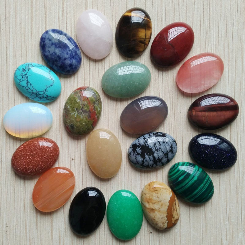 Free shipping 20pcs/lot Wholesale 18x25mm 2017 hot sell natural stone mixed Oval CAB CABOCHON teardrop beads for jewelry making