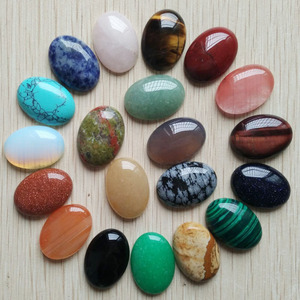 Image 1 - Free shipping 20pcs/lot Wholesale 18x25mm 2020 hot sell natural stone mixed Oval CAB CABOCHON teardrop beads for jewelry making
