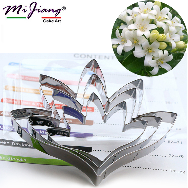 3pcs / set Tuberose Bunga Petal Cake Mold Stainless Steel Wedding Fondant Cake Decorating Tools Sugar Paste Cookie Cutters A363