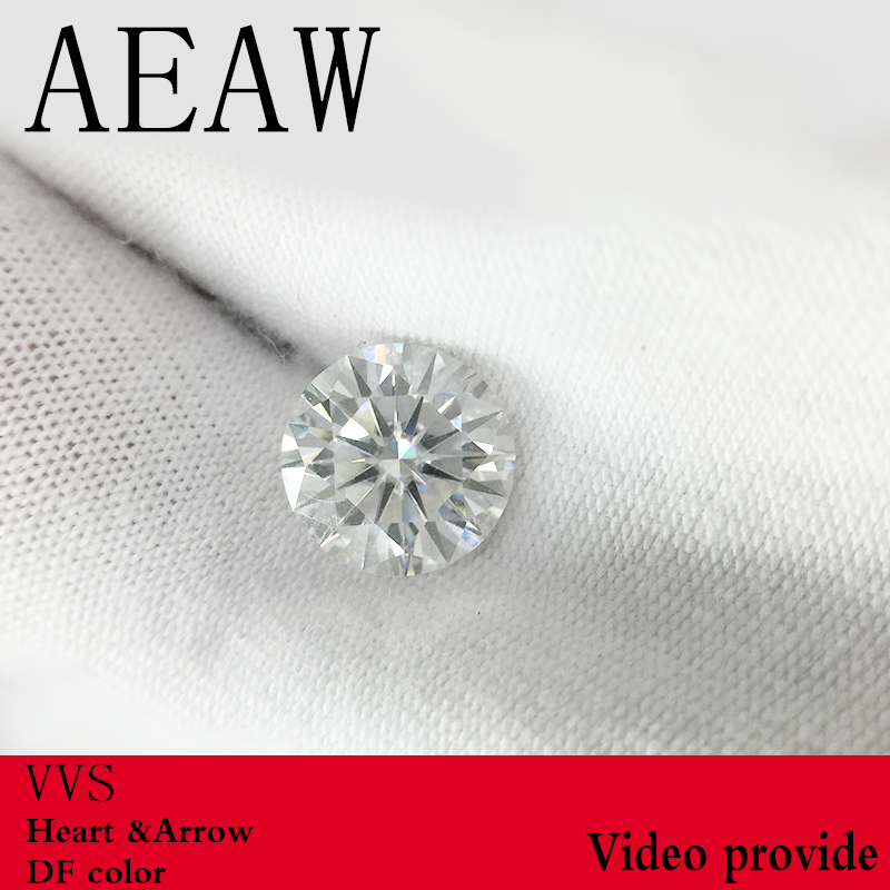 AEAW Round Brilliant Cut 3.0ct Carat 9mm EF Color Moissanite Loose Stone VVS Excellent Cut Grade Test Positive Lab Diamond