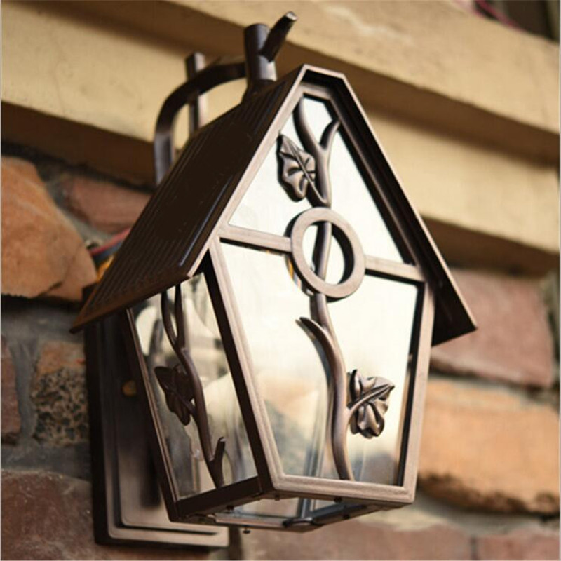 High End Outdoor Wall Sconces : High End Cottage Country Little House Design Aluminum Glass Led E27 Outdoor Wall Lamp for Garden ...