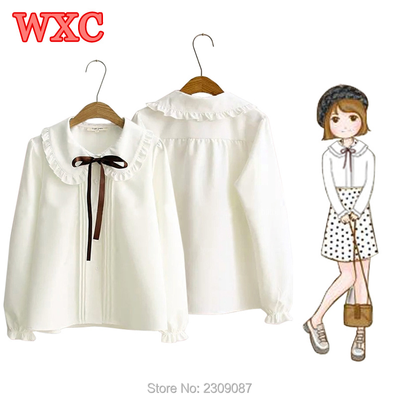 Women Chiffon Shirt Harajuku Preppy Style Peter Pan Collar Bow Tie Long Sleeve White Blouse Lolita Mori Girl Bottoming Tops WXC