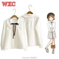Women Chiffon Shirt Harajuku Preppy Style Peter Pan Collar Bow Tie Long Sleeve White Blouse Lolita