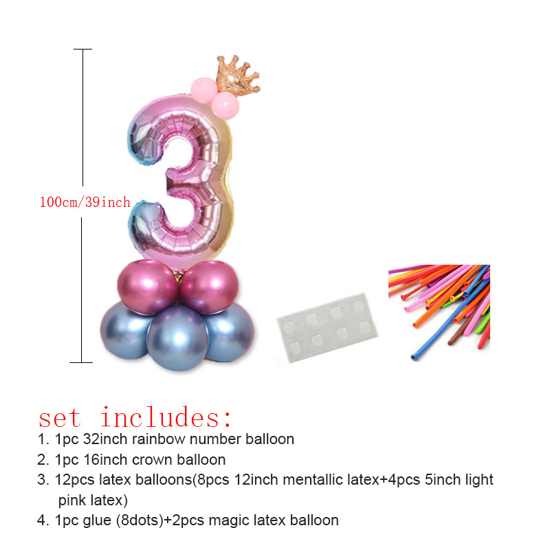 17pcs 32 Inch Big Foil Birthday Party Rainbow Number Balloon Blue Pink Balloons Air Helium Balloon Decorations Kids Party Ballon in Ballons Accessories from Home Garden