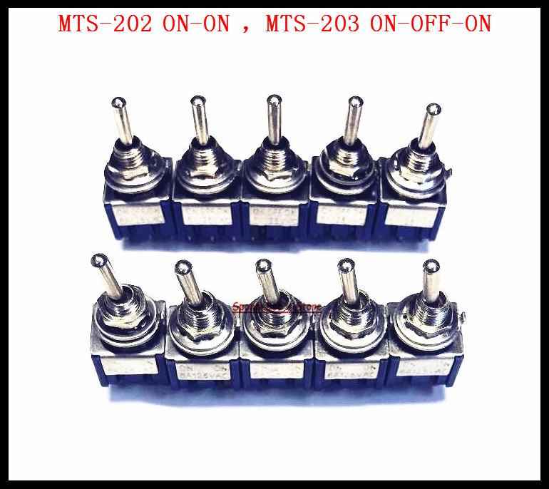 20pcs/lot Mts-202 On-on Switches Mts-203 On-off-on 6-pin Dpdt Toggle Switch 6a 125vac/3a 250vac Mini Switches Lever Switch Strengthening Waist And Sinews Lights & Lighting