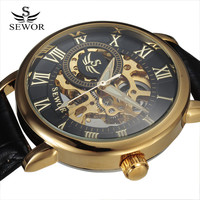 SEWOR Hollow Classic Design Engraving Black Gold Case Leather Skeleton Mechanical Watches Men Luxury Brand Heren