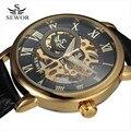 SEWOR Hollow Классический Дизайн Гравировка Черное Золото Случае Кожа Скелет Механические Часы Мужчины Люксовый Бренд Heren Horloge Подарок