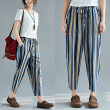 купить Fashion Striped Pants Women's Elastic Waist Striped Ankle-Length Harem Pants 2018 Spring New Arrival Cotton Linen Trousers дешево