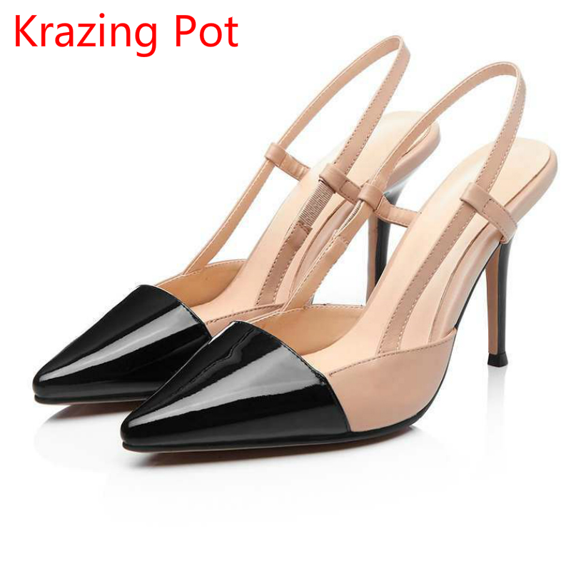 2017 Genuine Leather Superstar Mixed Colors High Heels Woman Sandals Pointed Toe Brand Shoes Slingback Runway Wedding Pumps L01