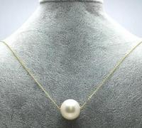 Free shipping 18 GOLD AAA++ 13 14MM NATURE SOUTH SEA WHITE PEARL PENDANT NECKLACE 18 INCHES