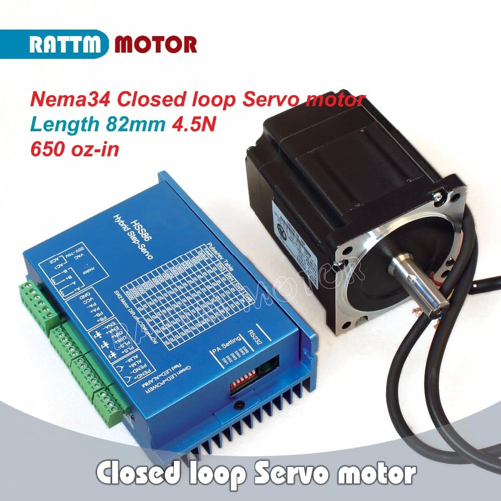 EU SHIP!!! Nema34 4.5N.m Closed Loop Servo motor 6A L 82mm & 2HSS86H Hybrid Step-servo Driver CNC Controller 8A dcs810 leadshine digital dc brush servo drive servo amplifier servo motor controller up to 80vdc 20a new original