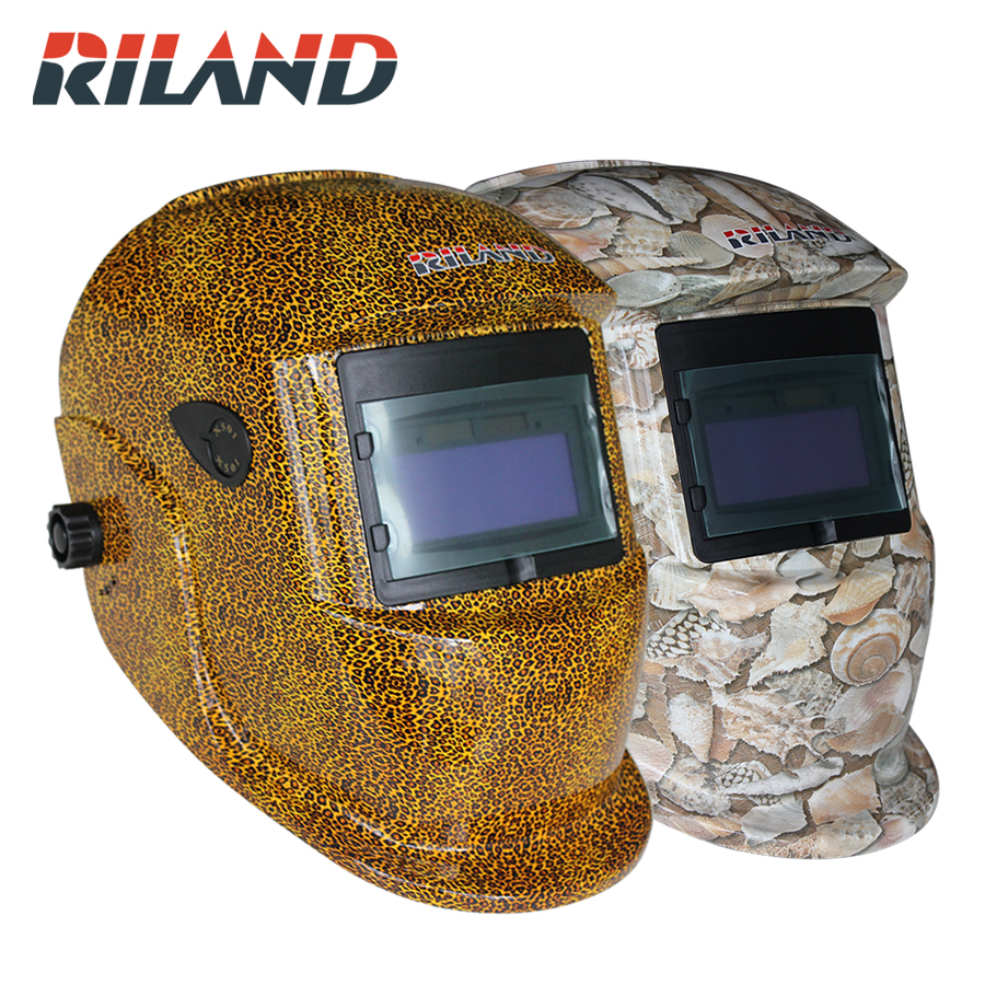 RILAND Automatic Power Welding Helmet ON/OFF Solar Powered Auto Darkening Welding Mask Helmet Mask Protect Head Neck Ears