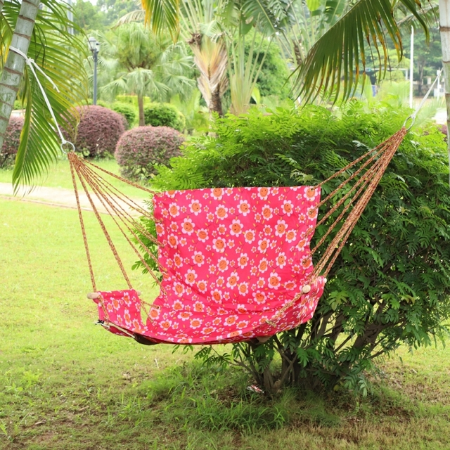 hammock chair swings back support walmart lovinland garden outdoor cotton striped hanging swing seat porch pink with flowers