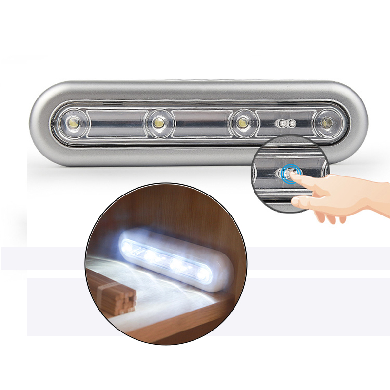 4 Led Bulbs Touch Sensor Led Night Lights Creative Emergency Light 180 Degrees lighting Angle Lanterna with Tape